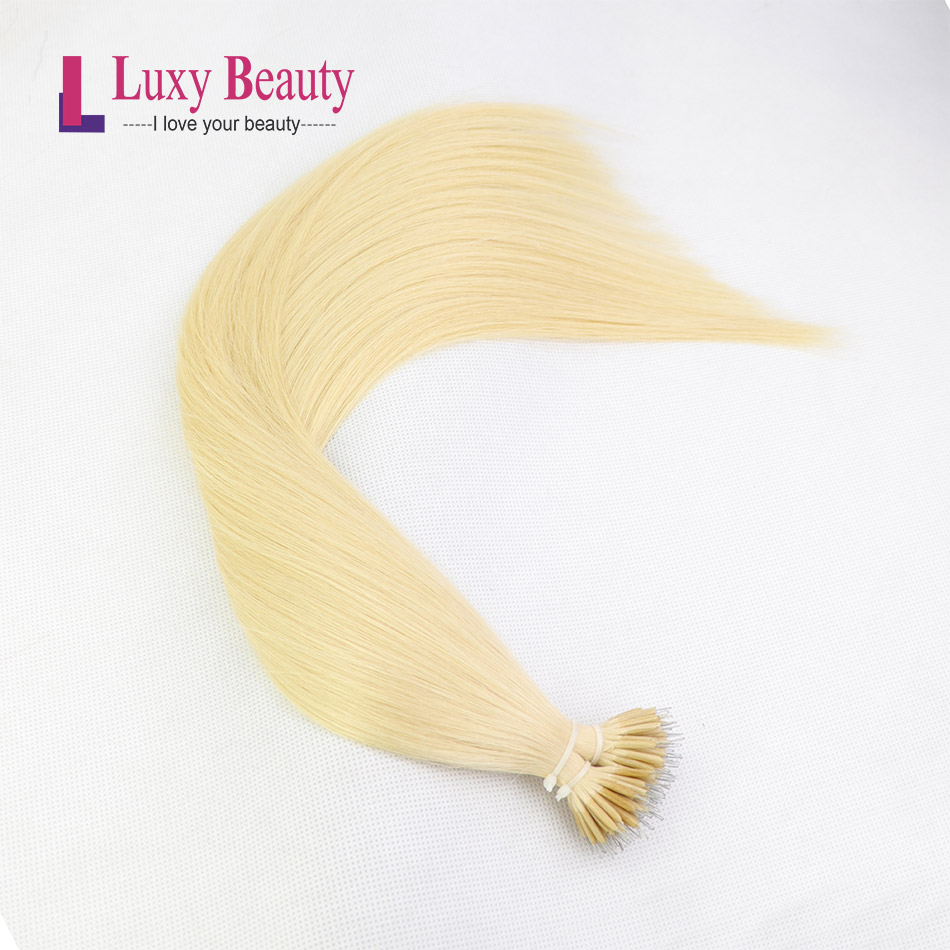 LuxyBeauty Remy Nano Hair Extensions #613 Light Blonde 12