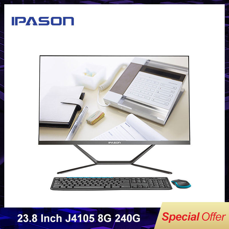 IPASON All-in-one Computer  P21 PLUS 23.8 Inch Intel J4105 240G SSD 8G RAM WIFI BLUETOOTH  Office Working Desktop PC