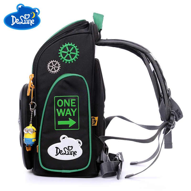 Delune orijinal 3D karikatür arabalar ortopedik sırt çantası 6-107 marka okul çantası çocuklar için sınıf 1-3 öğrenci okul çantası mochila infantil