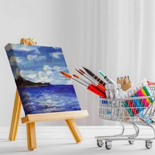 15Pcs Artists 5 Inch Mini Easel+3 Inch X3 Inch Mini Canvas Set Painting Craft Diy Drawing Small Table Easel Gift