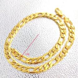 Estampillé 24 K solide or jaune Figaro chaîne lien collier 12mm hommes véritable Carat or rempli anniversaire cadeau de noël