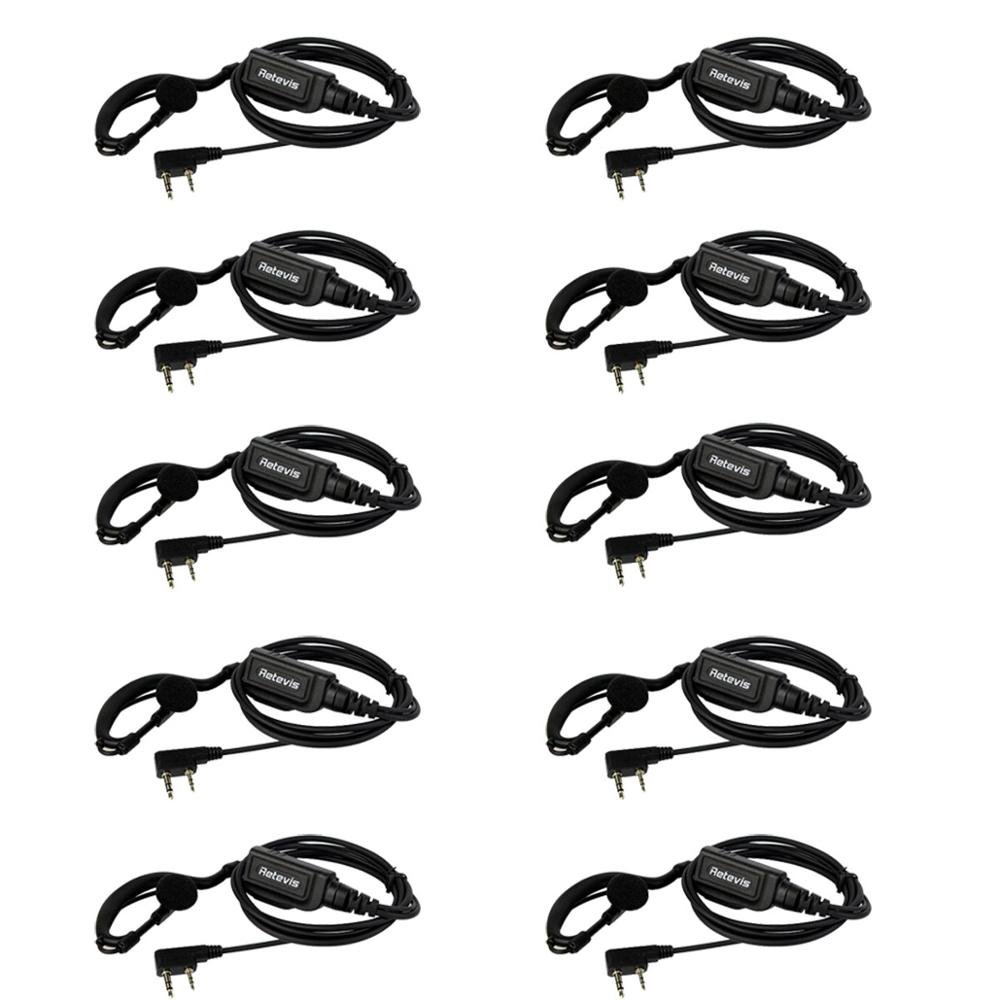 10pcs New Black Original G-type Ear-hook Earpiece For Retevis RT1 For Kenwood TYT Wouxun Two Way Radio High-power J9106A
