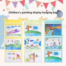 Art-Painting Storage-Bag Hanging-Book Wall Kindergarten 3/4/6-pocket File-Holder Transparent