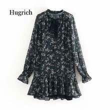 Женское плиссированное платье aachoae винтажное мини с оборками