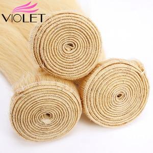 Image 4 - VIOLET Peruvian Straight 613 Blonde bundle Medium Ratio 8 26 Non Remy Human Hair Weave Tissage Blond Honey Hair 3/4 bundle Deal