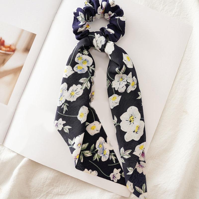 Bohème grande fleur chouchous longs banderoles arc cheveux écharpe femmes filles doux cheveux corde cravates mode cheveux accessoires chapeaux 13