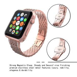 Image 4 - เพชรสำหรับApple Watch Band 40มม.38มม.Iwatch 42มม.44มม.สร้อยข้อมือสแตนเลสสำหรับชุดนาฬิกาApple 6 SE 5