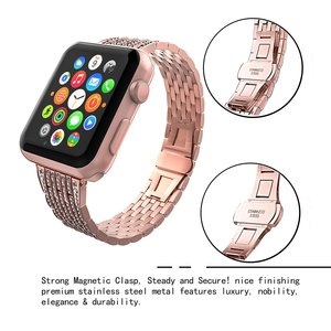 Image 4 - Luxury Diamond strap for Apple watch band 40mm 38mm iwatch band 42mm 44mm stainless steel bracelet For Apple watch Series 6 SE 5