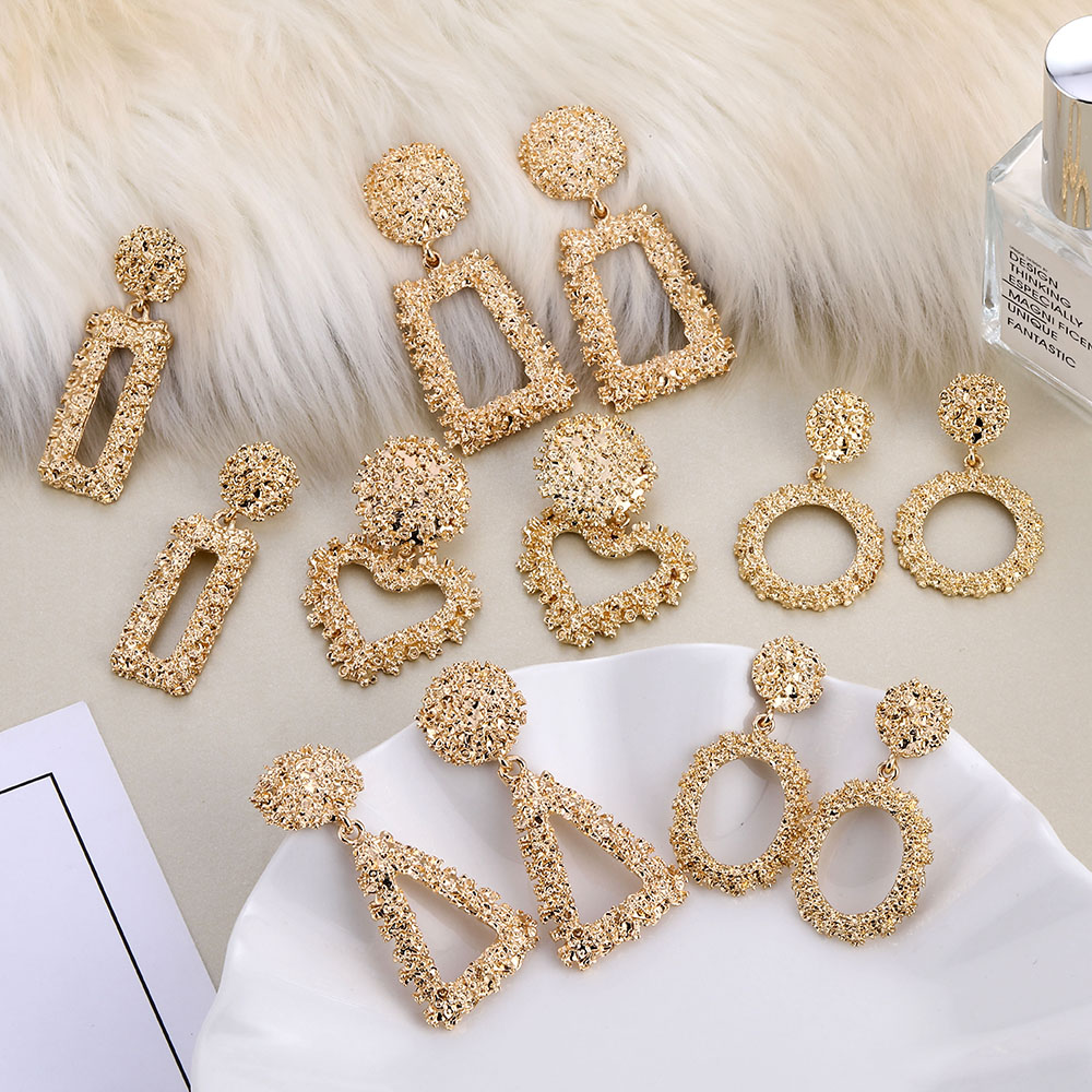 Trendy Gold Drop Earrings For Women Statement Big Geometric Heart Dangle Earrings Fashion Wedding Jewelry Accessories Wholesale