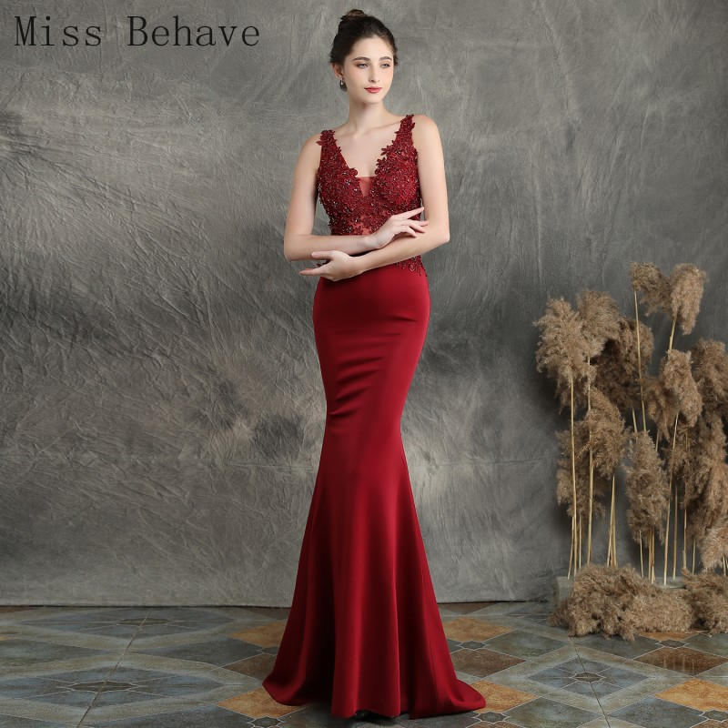 DD JYOY Simple Mermaid Evening Dress for Women V Neck/Back Lace Body with Beaded Long Formal Women Evening Gown Party Sleeveless