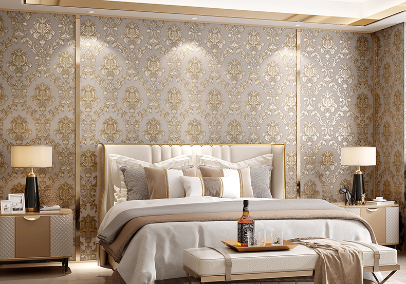 Beige Grey Gold Textured Luxury Classic 3d Damask Wallpaper Bedroom Living Room Home Decor Waterproof Vinyl Pvc Wall Paper Roll Inoava Com