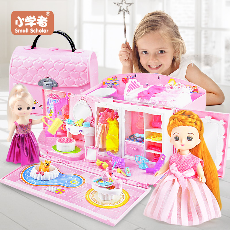Doll House hand bag accessories cute Furniture Miniature Dollhouse Birthday Gift home Model toy house doll Toys for ChildrenDoll Houses   -