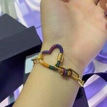 Siscathy Hot Trendy Women Punk Bracelets Charms Cubic Zirconia Luxury Link Chain Bracelets Bangles Fashion Jewelry Finding 2020