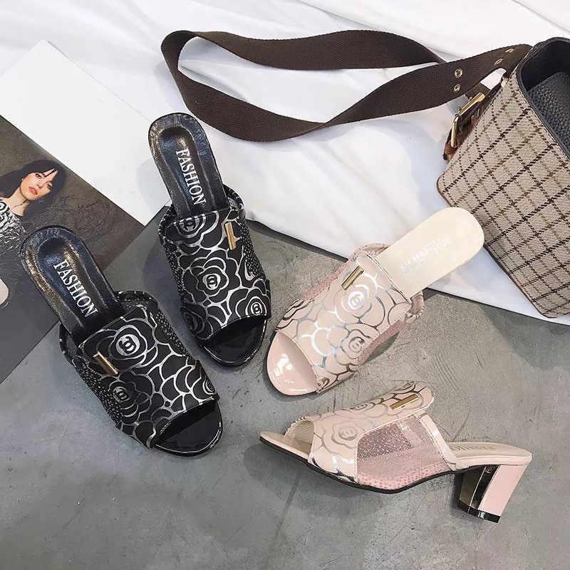MCCKLE yaz kadın kristal terlik yüksek topuklu katır slaytlar Lady çiçek Sandalias Peep Toe moda Mujer kadın artı boyutu 34-43