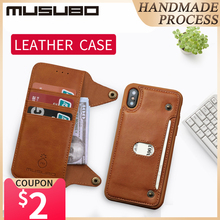 Musubo Luxury Leather Case For iphone X Flip Case Silicone Cover for iphone 8 Plus 7 6 6s Plus TPU wallet card holder detachable