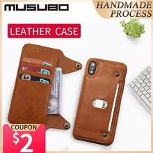 Musubo יוקרה עור מקרה עבור iphone X Flip מקרה סיליקון כיסוי עבור iphone 8 בתוספת 7 6 6s בתוספת TPU ארנק כרטיס מחזיק להסרה