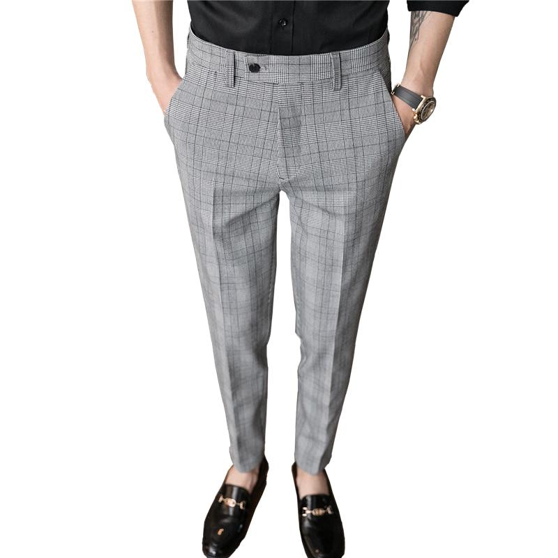 Pantalones De Vestir A Cuadros Para Hombre Pantalon Informal A La Moda Color Gris Para Primavera Y Verano Tallas 28 A 36 Pantalones De Traje Aliexpress