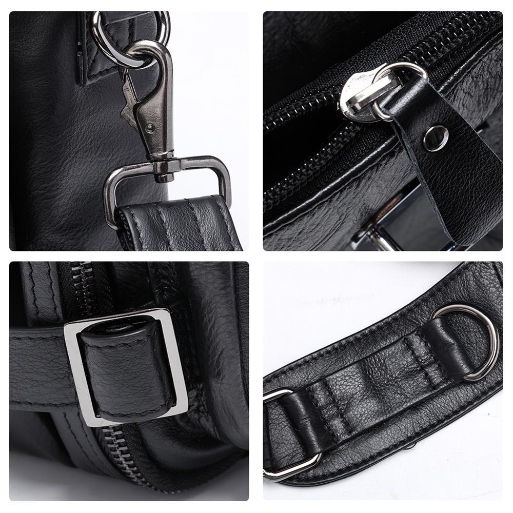 JOGUJOS Genuine Leather Vintage Men Travel Bag Duffel Bag Men's Handbag Luggage Travel Bag Large Capacity Leather Shoulder Tote - 5