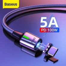 Baseus 5A Magnetic USB C Cable Type C to Type C 100W Magnet Cable Data Charge Type C Mobile Phone Cable Fast Charger USB Cord cheap TYPE-C NYLON USB A Alloy Connector Baseus Zinc Magnetic Cable Type-C 100W(20V 5A) Zinc alloy+Nylon braided cable Black 480Mbps(Max)