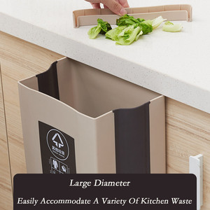 Image 5 - Kitchen Cabinet Door Hanging Trash Can Garbage Can Folding Waste Bins Kitchen Hanging Collapsible Dry Wet Separation Trash Can
