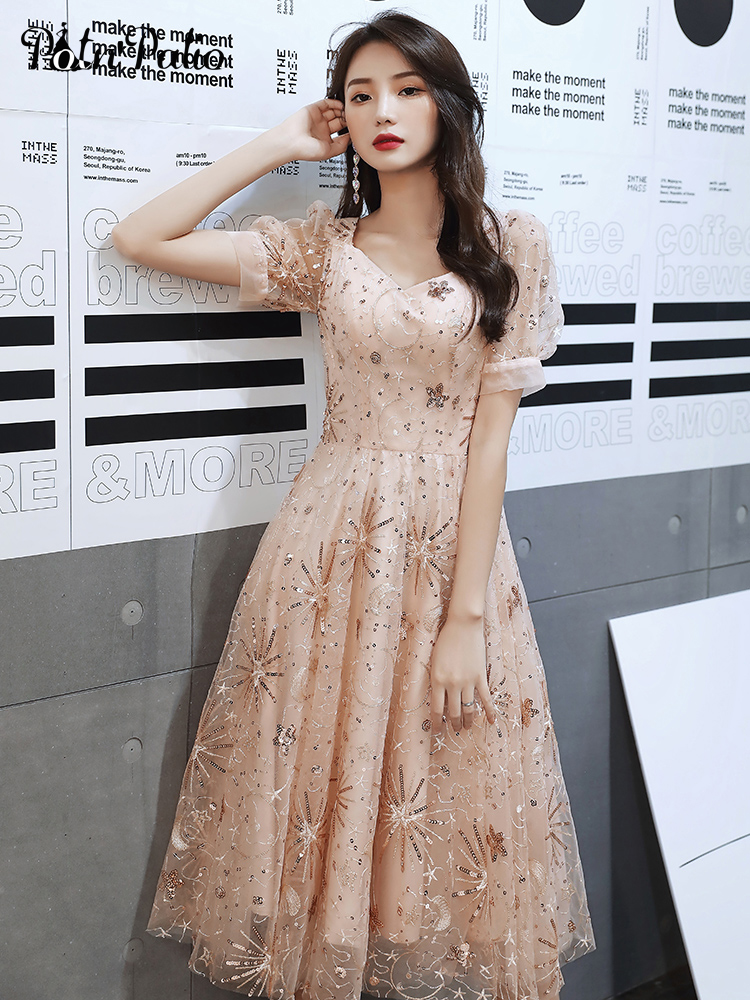 Sequined Lace Cocktail Party Dresses Elegant V-neck A-line Tea-length Medium Long Prom Gown For Homecoming