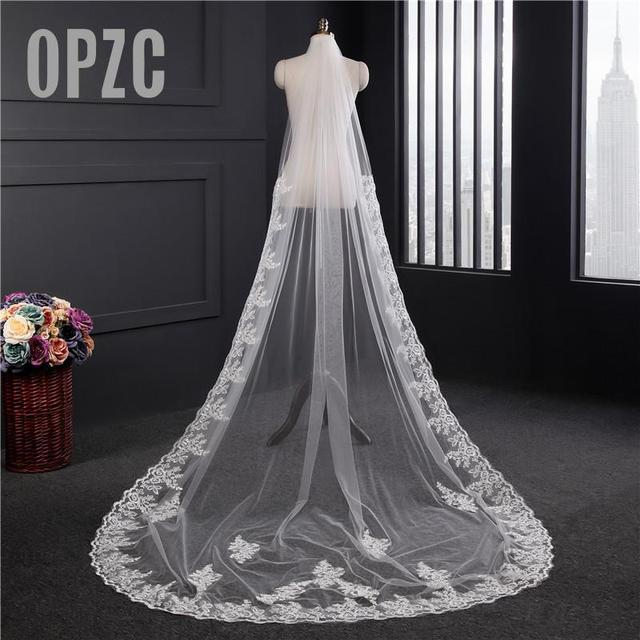 Lace Appliques Top Grass 3*1.5M Long Tail One Layer Lace Edge Long Train Beautiful Bridal Veil For Wedding Dress
