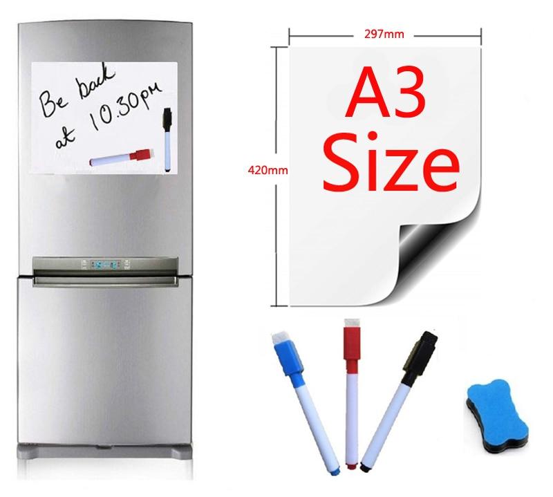 A3 Size Magnetic Whiteboard Fridge Marker Magnets Eraser 297x420mm Home Kitchen Message Boards Writing Pad Dry Eraser Sticker