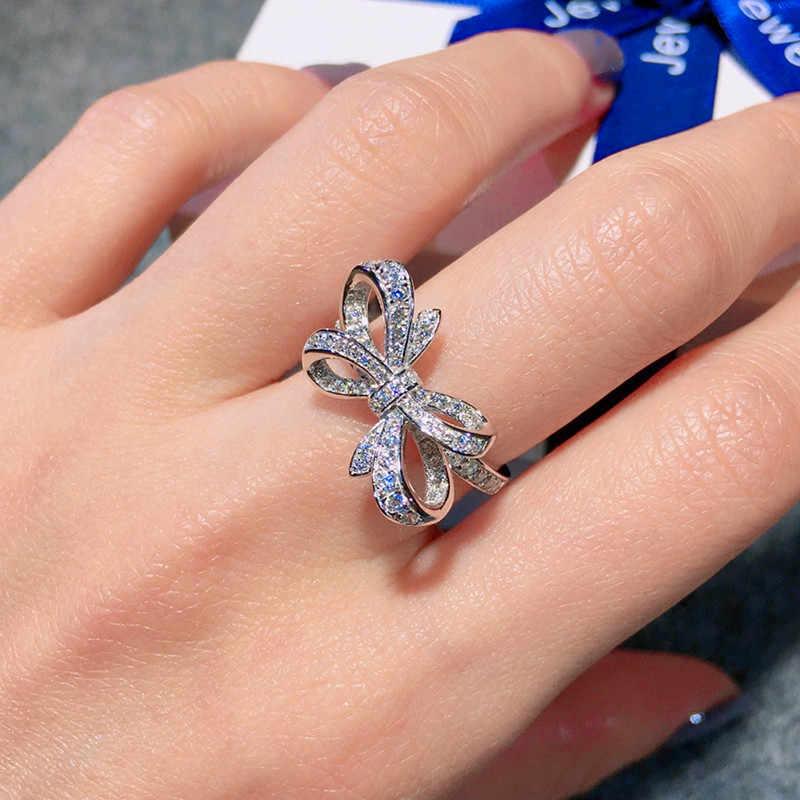 หญิงหรูหราผีเสื้อ Bowknot งานแต่งงานแหวน Elegant 925 เงินแหวนสัญญาแหวนหมั้นเพชรสำหรับผู้หญิง