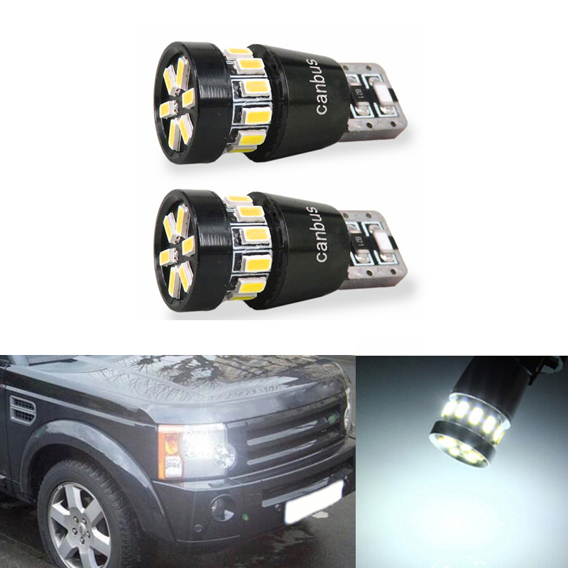 2x <font><b>T10</b></font> 3014 <font><b>SMD</b></font> <font><b>18</b></font> LED W5W Parking Lamp Clearance Light For Land Rover v8 discovery 4 2 3 x8 freelander 2 defender A8 a9 image