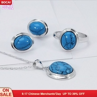 2019 new S925 Sterling Silver Stud Earrings Women Inlaid Turquoise Ring Adjustable Pendant Woman's jewelry set
