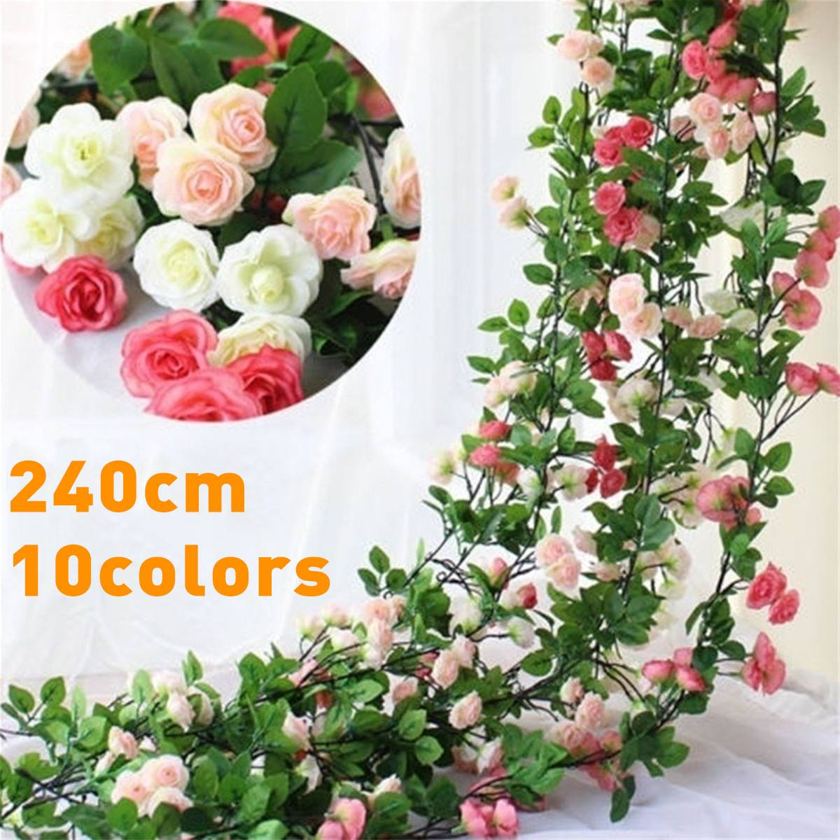 240cm Artificial Rose Flower Fake Hanging Decorative Roses Vine Plants Leaves Artificials Garland Flowers Wedding Wall Decor