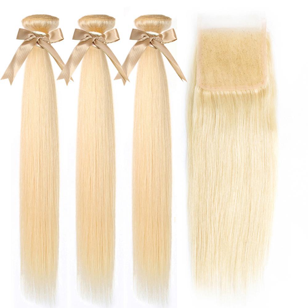 Honey Blonde Bundles With Closure Cosplay Bone Straight Human  Hair   Virgin Hair 613 Bundles And A Closure 2