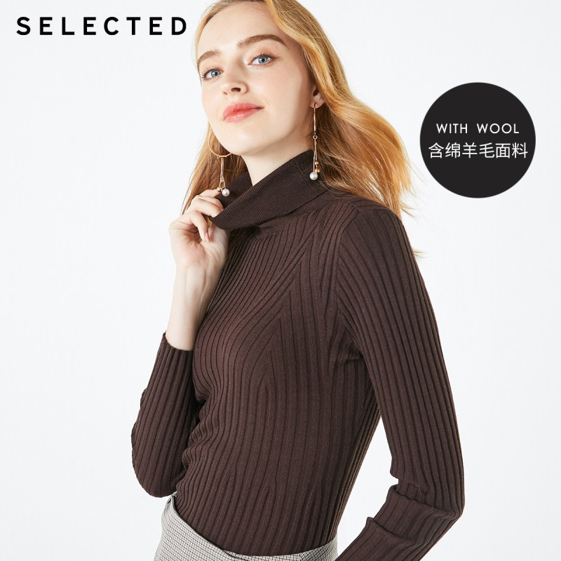 SELECTED Women's Slim Fit Pure Color High-necked Woolen Knit S|419424514