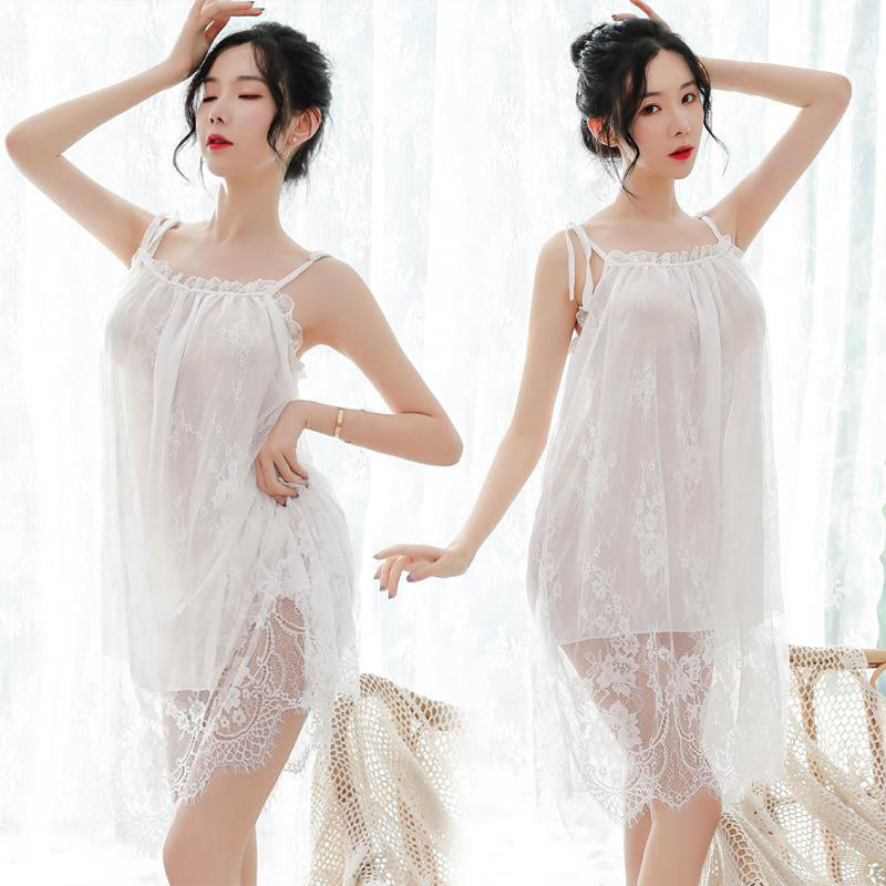 Women Sexy Pure Lace Lingerie Perspective Strap Nightdress Large Size Underwear Nightgown Dress Plus Size Open Back Sleepwear