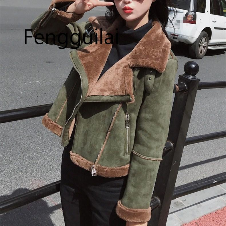 FENGGUILAI New Hot Winter Long Sleeve Short Green Jacket Casual Faux   Leather   Fur Warm Outerwear Women Turn-Down Collar   Suede   Coa