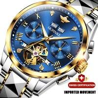 OUPINKE-Reloj de pulsera automático para hombre, de lujo, de cristal de zafiro, mecánico, resistente al agua, de acero de tungsteno, masculino