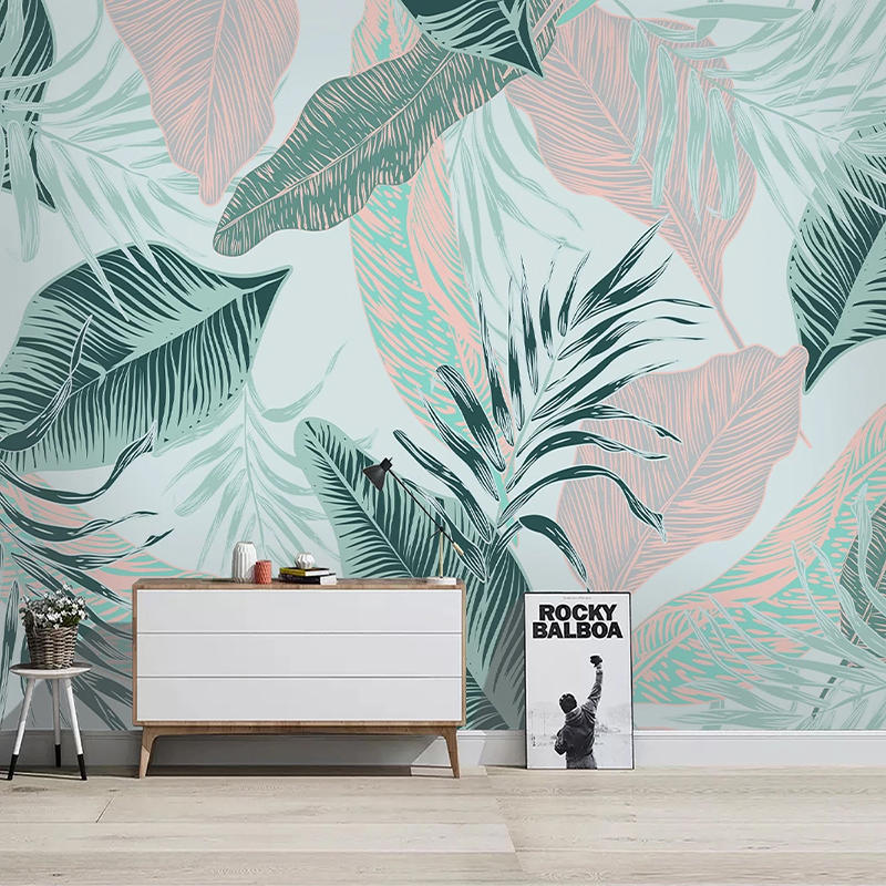 3D Wallpaper Modern Nordic Simple Abstract Lines Tropical Leaves Photo Wall Murals Living Room TV Bedroom Background Wall Papers