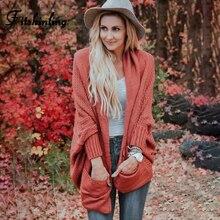 купить Fitshinling Oversized Batwing Sleeve Cardigans Winter Sweaters Pockets Fashion Female Long Cardigan Loose Knitted Jacket Sale дешево