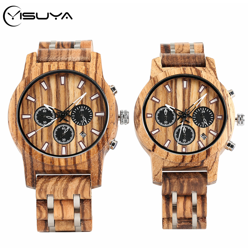 YISUYA Men's Watch Wooden Watch Date Display Brand Luxury Wooden Chronograph Sport Military Quartz Watches Clock Gift For Couple