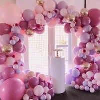 Arco de globos de macarrón rosa, decoración para fiesta de bienvenida de bebé, cumpleaños, boda, fiesta, decoración, recuerdo de bautizo, guirnalda de globos Pastel, 100 Uds.