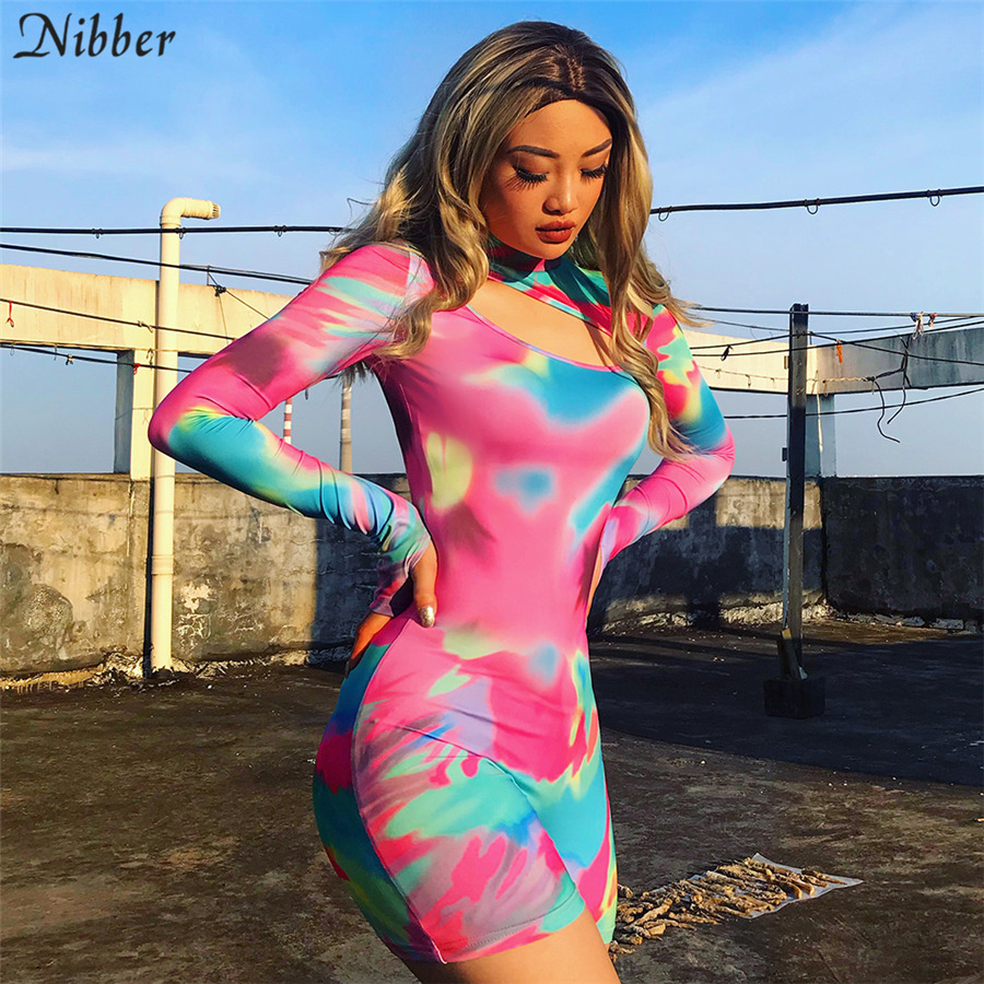Nibber neon stretch Slim Soft playsuits women2019autumn fashion basic hollow full sleeve Active   jumpsuits   casual playsuits mujer