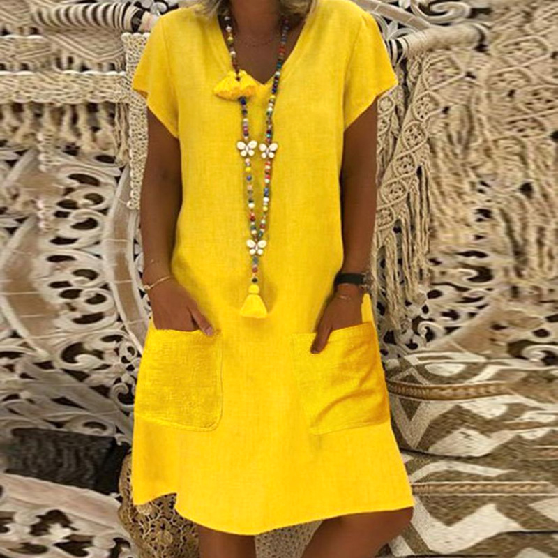 Fashion V-neck Short Sleeve Plus Size 5xl 6xl 7xl 8xl Loose Casual Dress Women 2019 Summer Yellow  Mini Lady Dresses Robe Femme