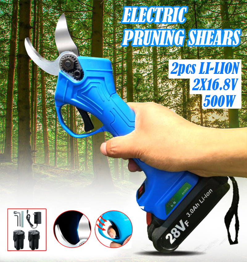 High Carbon Steel Cordless Electric Pruning Shears Electric Scissors Rechargeable Lithium Battery Powered Tree Branch Pruner