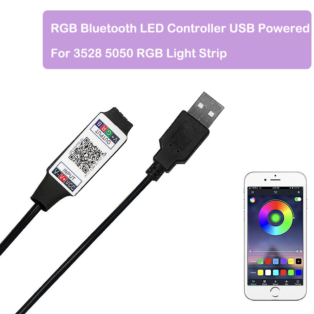 Controlador LED Bluetooth inteligente RGB alimentado por USB para 3528 5050 tira de luz RGB Multicolor cambiante de cc 5V con temporizador Suitabl