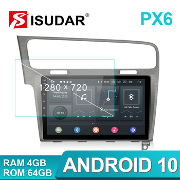 Isudar PX6 1 Din Android 10 Car Radio For VW/Volkswagen/Golf 7 Auto Multimedia Video Player GPS RAM 4GB ROM 64GB USB DVR Camera
