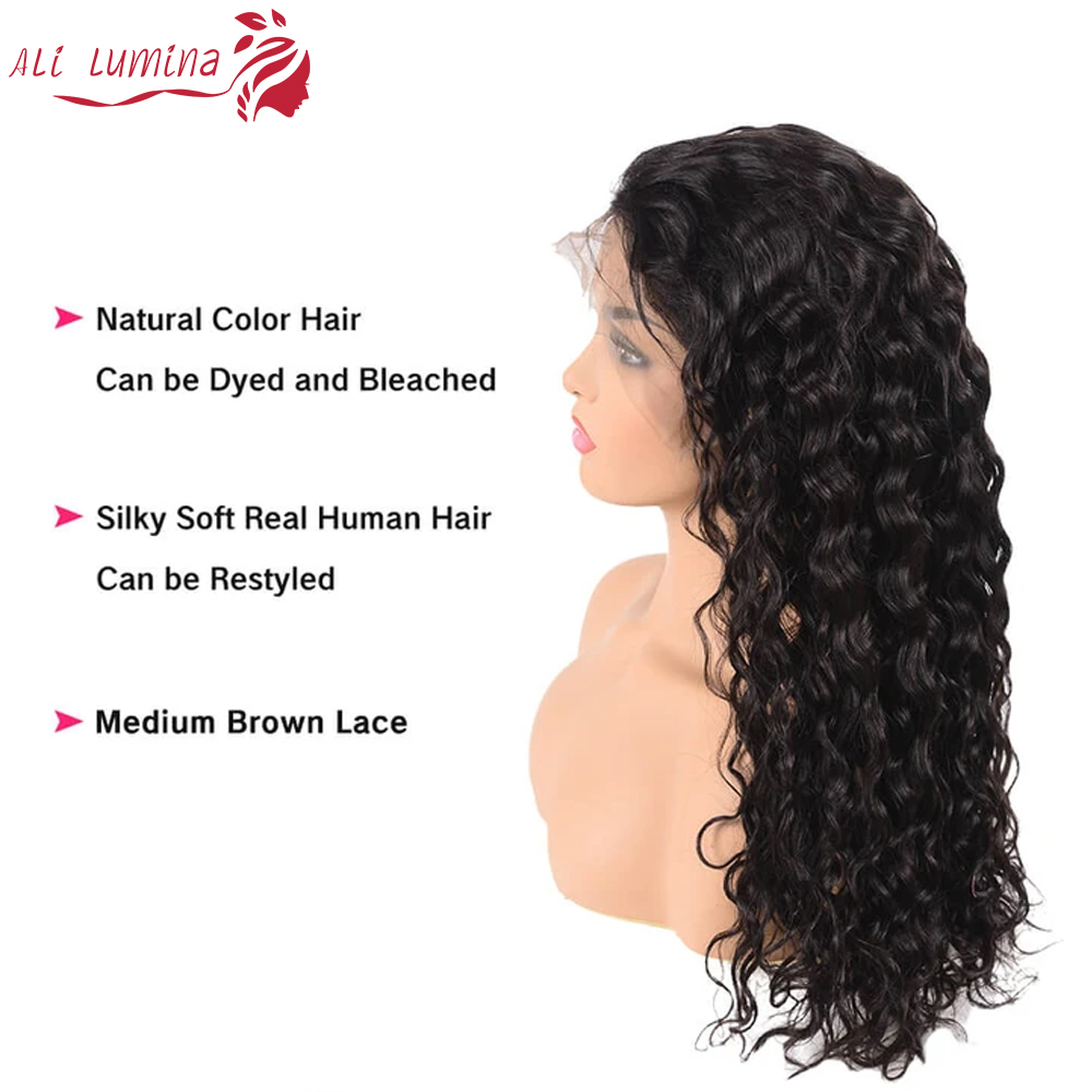 13x4 Lace Front  Wigs  Water Wave Lace Wigs Pre Plucked 4x4 Lace Closure Wigs With Baby Hair Curly Wigs 2