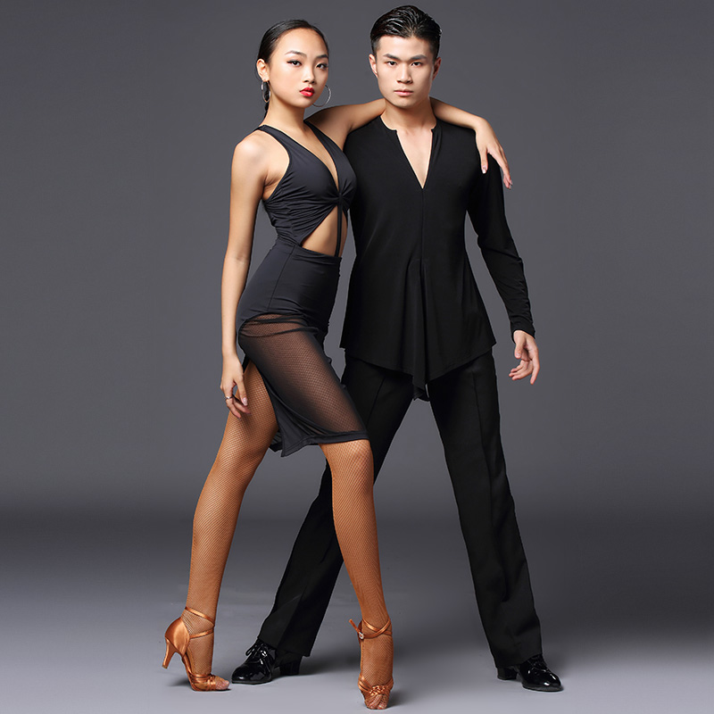 Women Latin Dance Costumes Black Sexy Bodysuit Dance Skirts Latin Dance Competition Dresses Rumba Samba Performance Wear DQS3742