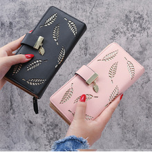 2021 New Pink Long Fashion Clutch Bag For women PU leather Hollow Leaf Zipper Buckle Wallet Blue Lady 's Card Bags