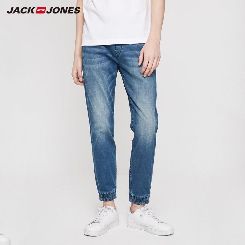 JackJones Men's Elasticized Tight-leg Tapered Crop Jeans Streetwear| 219232514