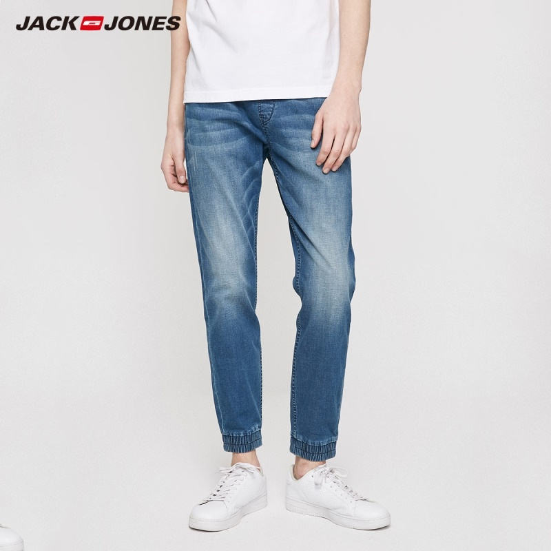 JackJones Men's Winter Elasticized Tight-leg Tapered Crop Jeans Streetwear| 219232514